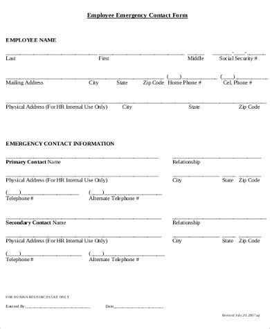 Sle Employee Emergency Contact Form 7 Exles In Word Pdf Emergency Information Form Template