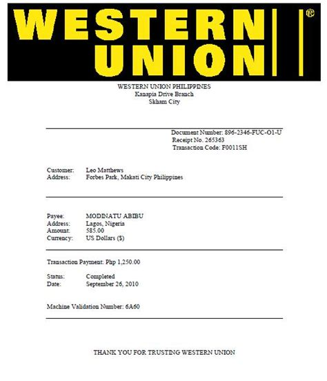 Western Union Receipt Template by I Lost 585 In 419 Scam T T Skewed Logic