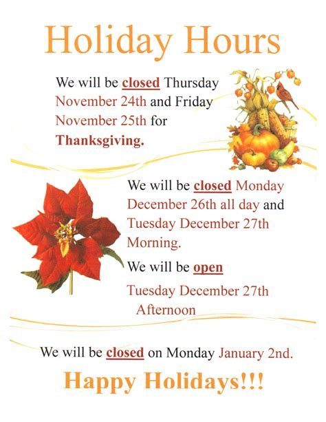 Holidayhours Marion City Library Thanksgiving Business Hours Template