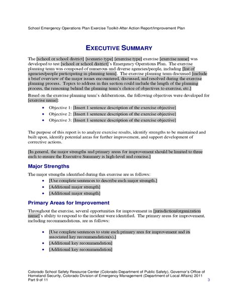 Aar Briefformat After Report And Improvement Plan Template Free