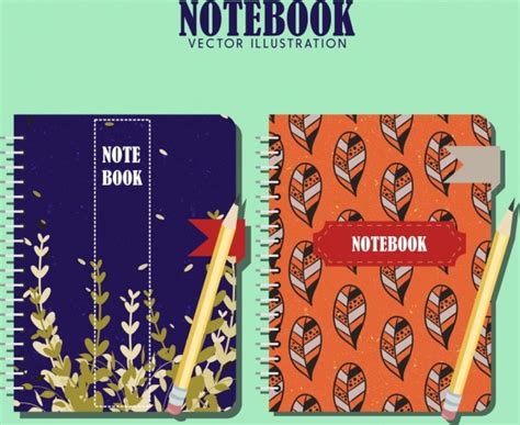 notebook cover design vector free download notebook cover templates leaves theme classical design