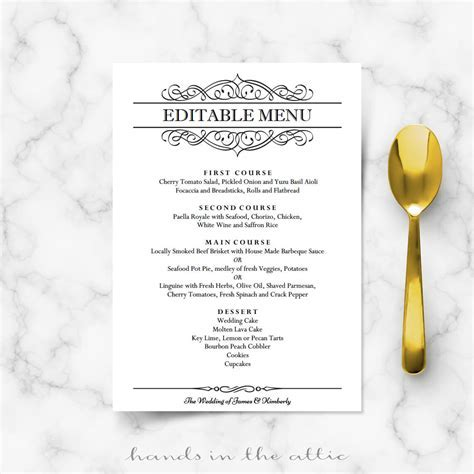 Calligraphic Wedding Brunch Menu Template   Wedding Menu