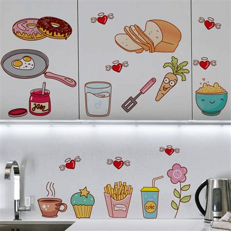 kitchen cabinet decals creative food pattern self adhesive vinyl removable decal