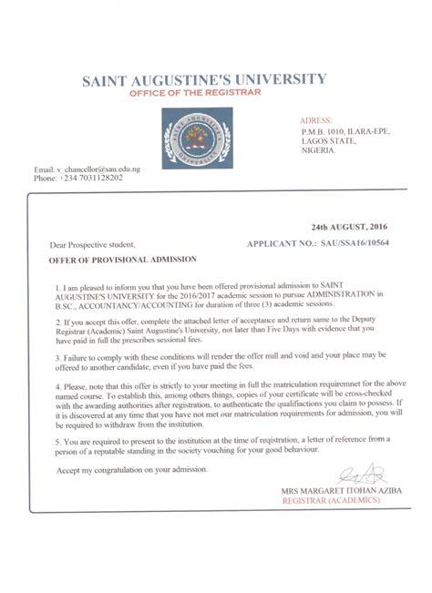 College Acceptance Letter 2016 augustine ilara admission scam alert 2016 17