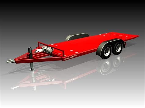 design is one trailer car trailer tilt deck step iges 3d cad model grabcad