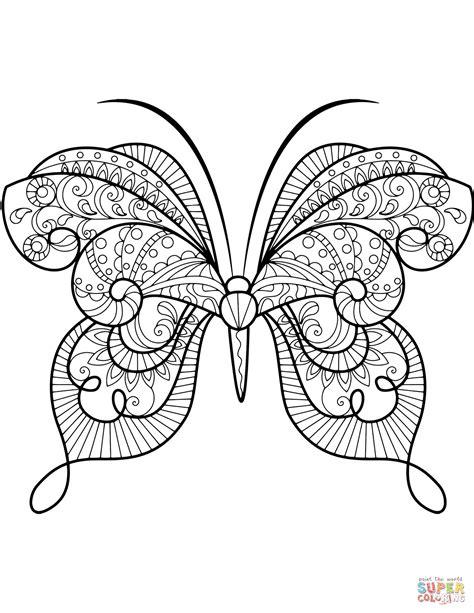 imagenes de mariposas animadas para colorear dibujo de zentangle de mariposa avanzada para colorear