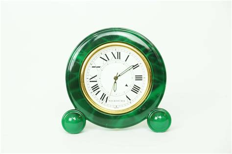 Small Desk Clock Small Green Enamel And Brass Desk Clock By Verdura At 1stdibs