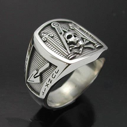masonic skull and pillar ring in sterling silver style