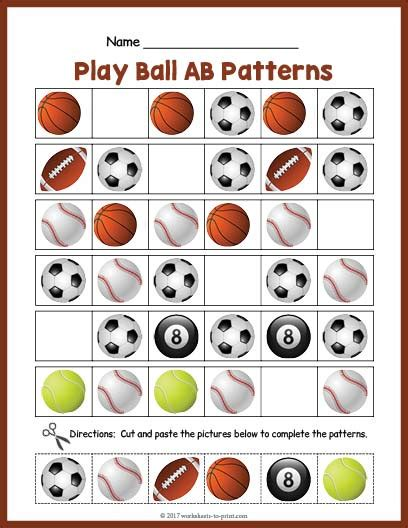 ab pattern words sports balls ab pattern worksheet
