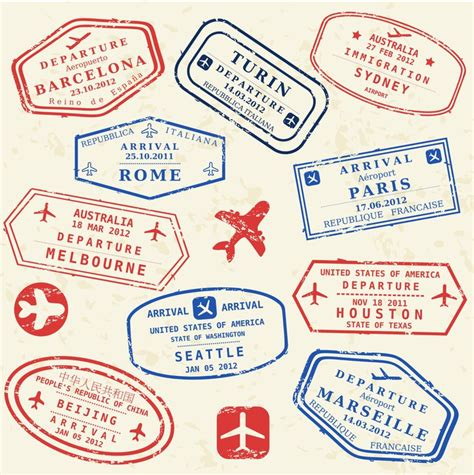passport stamp set world visa stamps wall mural pixers