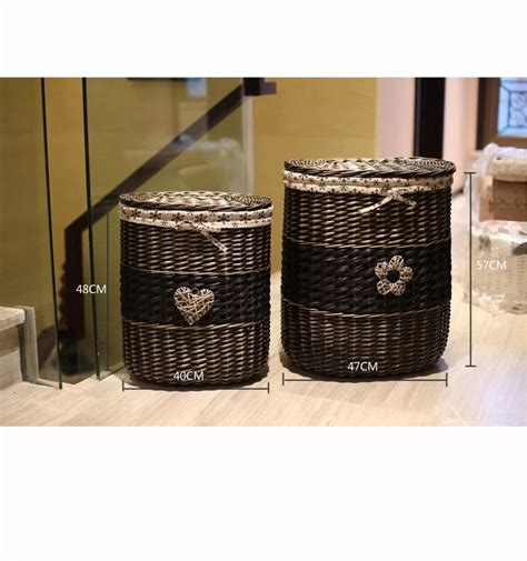 Bathroom Storage Basket With Lid Laundry Her Storage Lined Wicker Basket Clothes Her