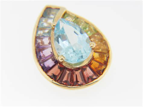 vintage 1 6ct pear cut blue topaz multi color gemstone