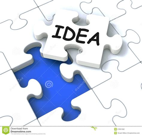 idea for idea puzzle showing creative innovations stock