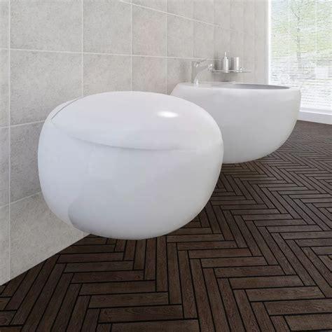 toilet and bidet set wall hung toilet bidet set white ceramic vidaxl co uk