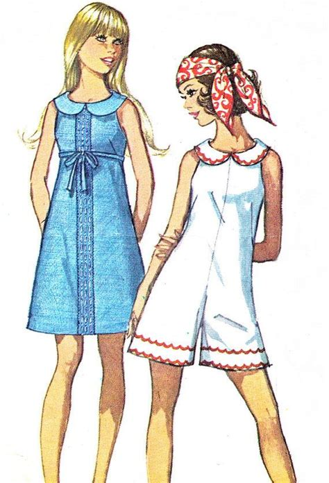 1960s womens jumpsuit and romper pattern simplicity 8146 1960s mod sleeveless a line dress or romper peter pan