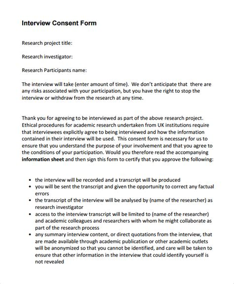Research Consent Letter Sle letter of consent for research interviewing 28 images