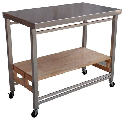 Stainless Steel Kitchen Island Cart | x large folding island stainless steel and wood modern
