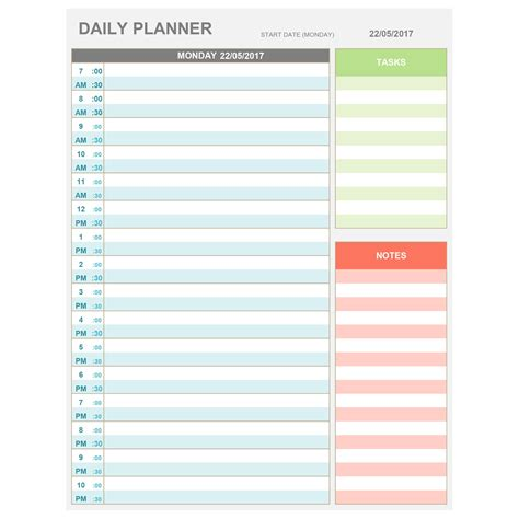 printable daily planner for excel excel daily hourly planner printable editable daily