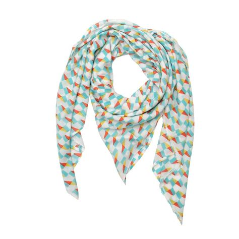 florenz white silk cotton square printed josie scarf in