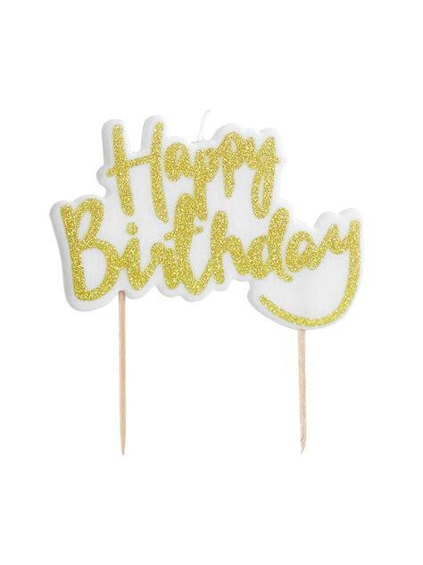candela torta candela per torta happy birthday color oro su vegaooparty