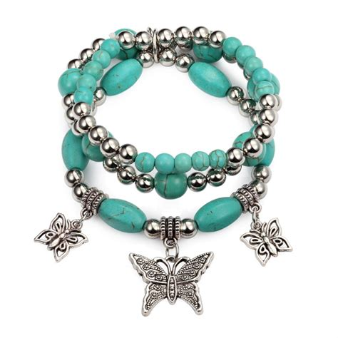 stretch charm bracelet set turquoise silver beaded