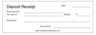 Deposit Receipt Template by 50 Free Receipt Templates Sales Donation Taxi