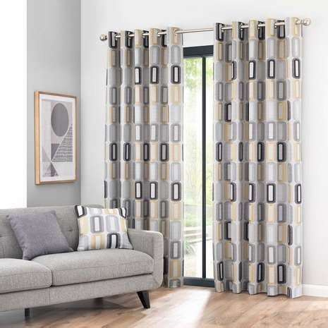 Navy Blue Tab Curtains Elements Dahl Ochre Eyelet Curtains Dunelm