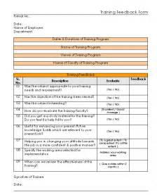 doc 600650 doc training evaluation feedback form
