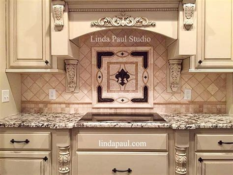 fleur de lis tile backsplash medallion kitchen