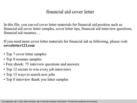 Cover Letter To Aid Financial Aid Cover Letter
