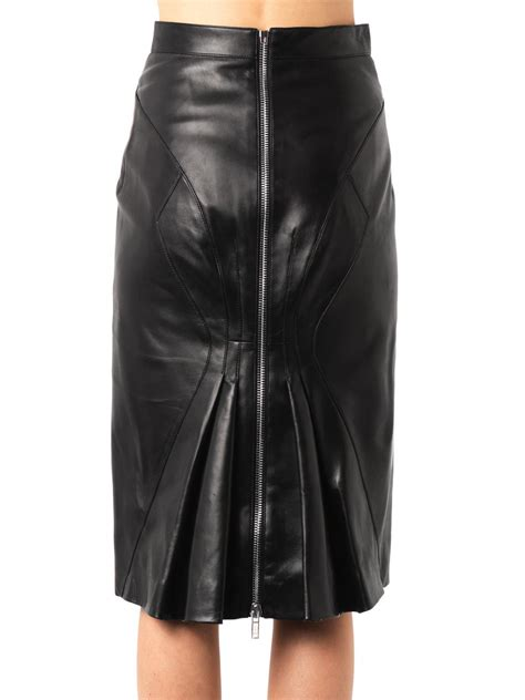 givenchy zip back leather pencil skirt in black lyst