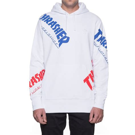 Sweater Hoodie Thrasher X Huf Premium huf x thrasher tour de stoops all hoodie white