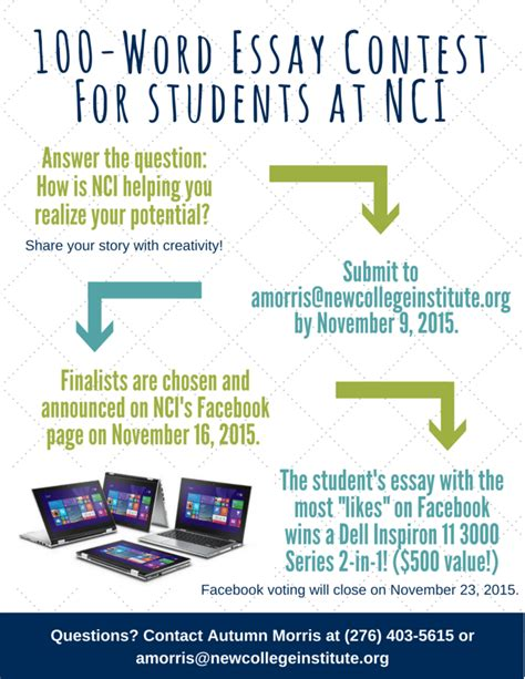 Contest Essay by 100 Word Essay Contest For Students At Nci New College Institute