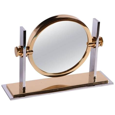karl springer brass and nickel vanity mirror for sale