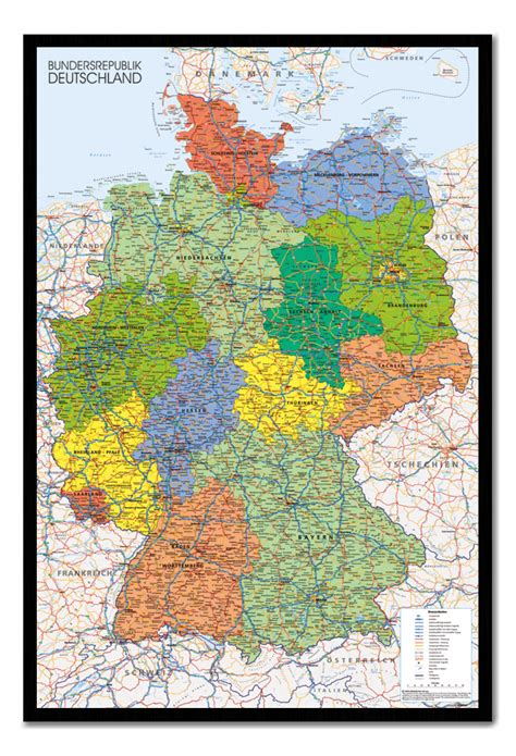 how to hang a map without a frame framed germany map wall chart poster ready to hang