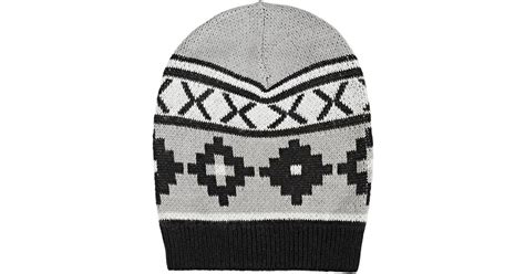 black and white knit hat pattern barneys new york women s nordic pattern knit hat in black