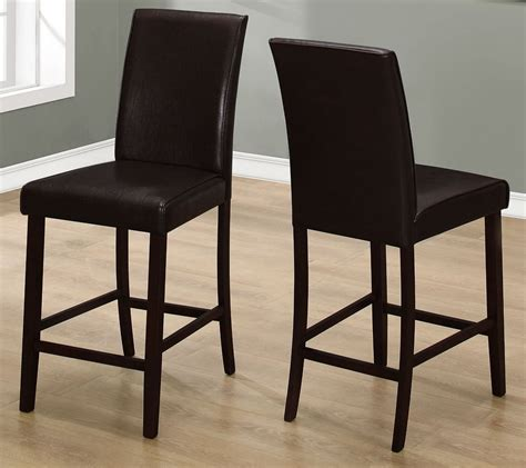 Height Of A Dining Chair Brown Leather Counter Height Dining Chair Set Of 2 From Monarch Coleman Furniture