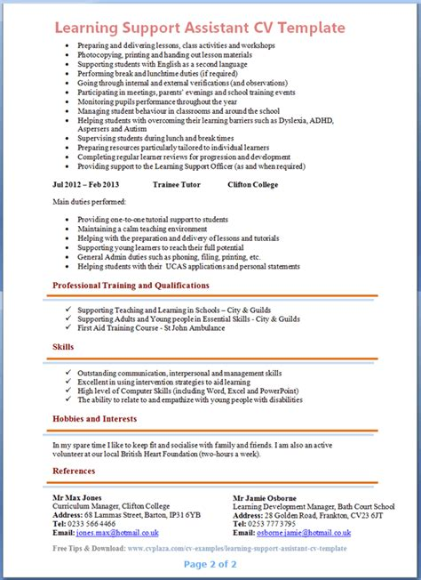learning support assistant cover letter learning support assistant cv exle 2