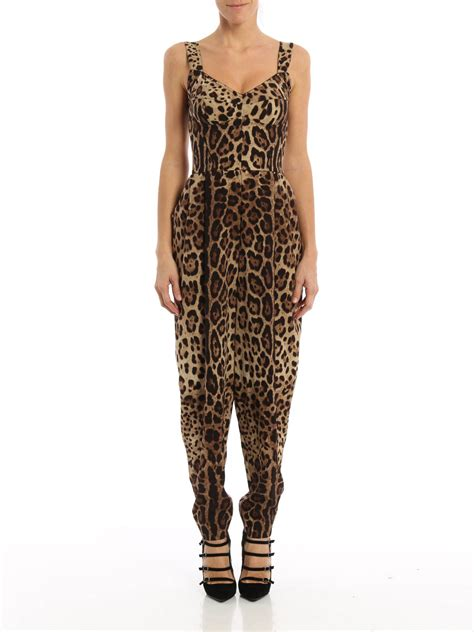 leo print silk jumpsuit by dolce gabbana jumpsuits