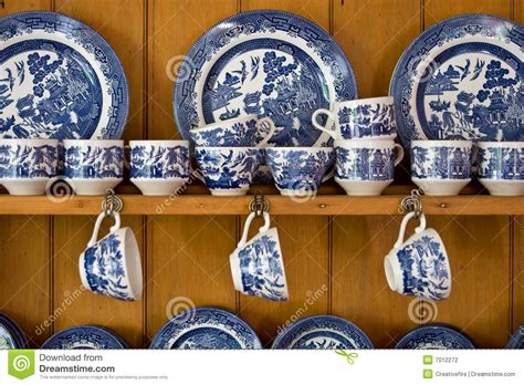 Hutch Plans Free Antique Blue China On Sideboard Stock Photo Image 7012272