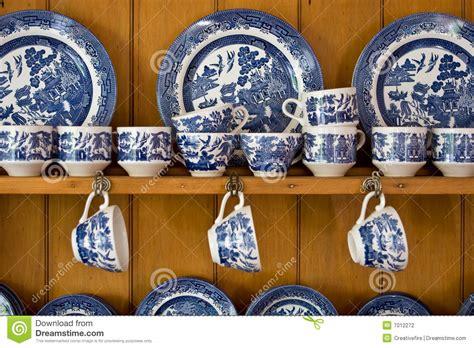 Antique Blue China On Sideboard Stock Photo   Image: 7012272