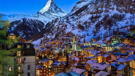 winter at zermatt valley switzerland