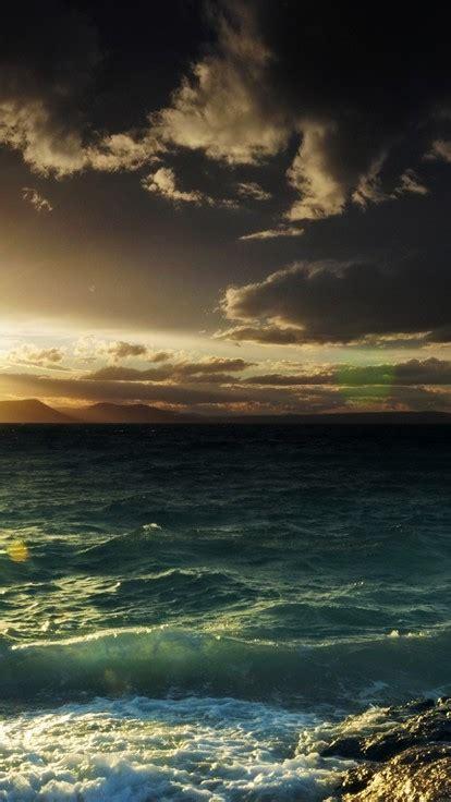 sunset nature coast waves sea wallpaper allwallpaperin