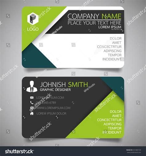 green modern creative business card name stock vector