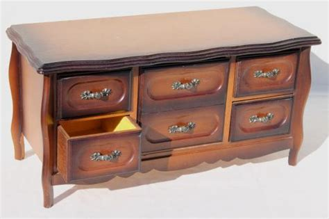 80s vintage jewelry box chest of drawers velvet lined