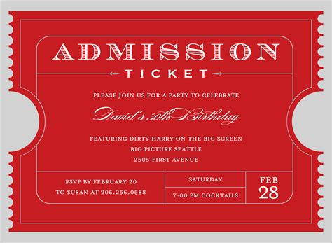 quick view not id 1117 quot admission ticket red invitation quot