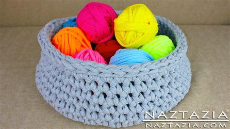 pattern for t shirt yarn basket diy learn how to make t shirt yarn crochet a basket