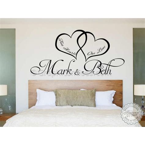 romantic wall stickers for bedrooms personalised bedroom wall sticker two hearts one love
