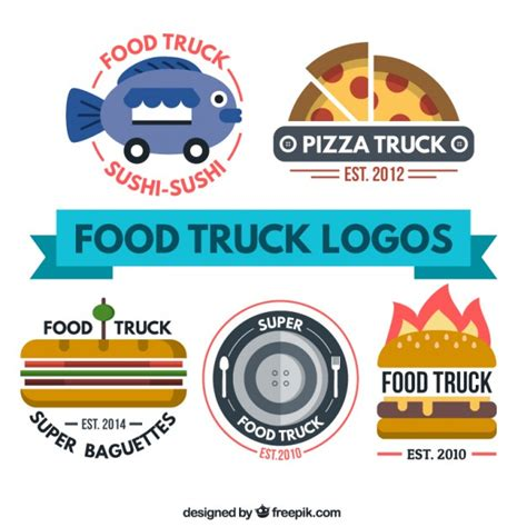 free food truck logo design flat food truck logo collection vector premium download