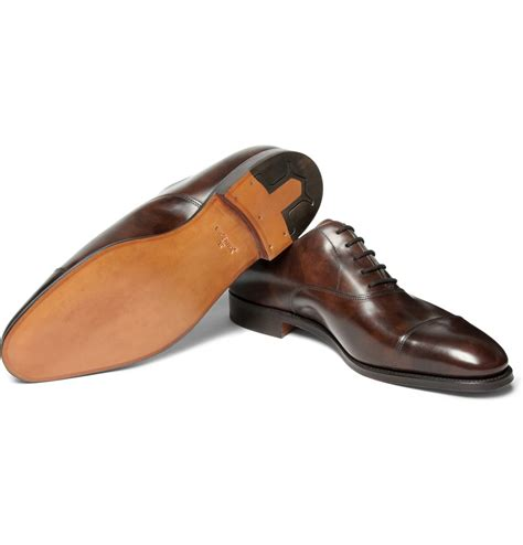 brown leather oxford shoes lobb city ii leather oxford shoes in brown for lyst